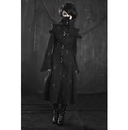 High Collar Long Black Gothic Vampire Crosses Jacket Coat
