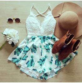 Floral Printed Pattern Women Summer Jumpsuit