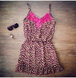 Fashion Red Leopard Women Summer Slip Dress