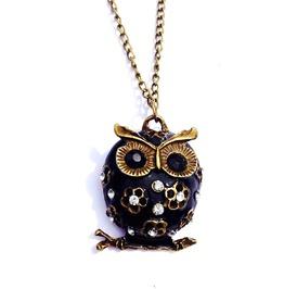 Magic Midnight Blue Enamel Bronze Metal Owl Pendant On Black Rubber Chord