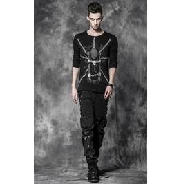 Chains Bindeg And Skeleton Design Gothic T Shirt