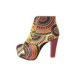 Bohemian Style Floral Print Women Short Boots