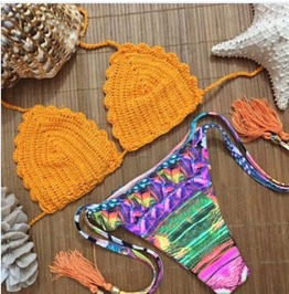 Fashion Galaxy Floral Brazilian Bikini Orange