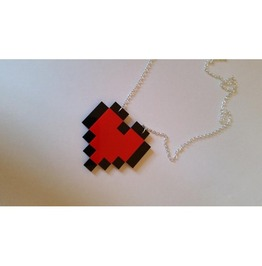 8 Bit Heart Pixel Necklace Curiology