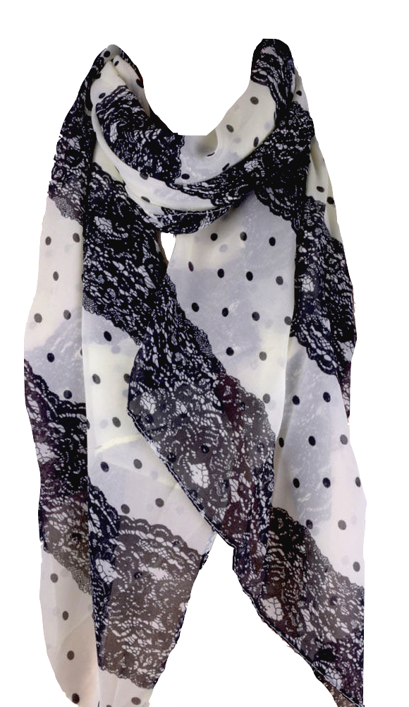 awesome black and white lace print design scarf with