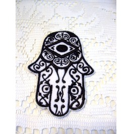 Embroidered Ornate Hamsa Hand Iron/Sew On Patch Evil Eye Patch White/Black