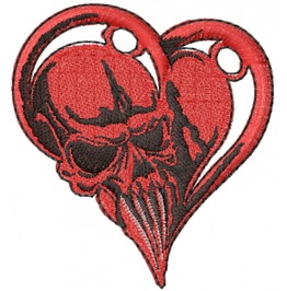 Embroidered Skull In Heart Patch Badge Iron / Sew On