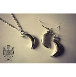 Crescent Moon Earrings And Necklaces Set Curiology
