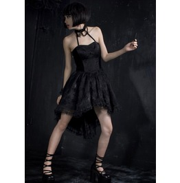 Black Gothic Halter Neck Sleeveless Dress