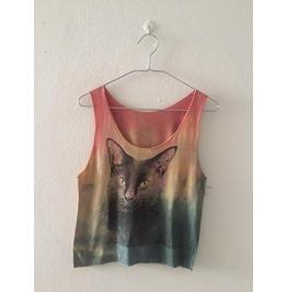 Cat Animal Color Cool Print Pop Rock Crop Top Tank Top