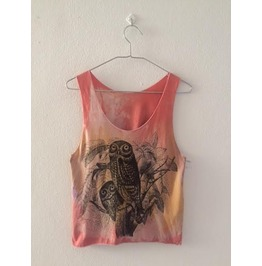 Owl Animal Color Cool Print Pop Rock Crop Top Tank Top