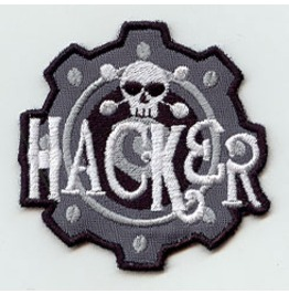 Embroidered Hacker Skull Patch Iron/Sew On Handmade Skull Patch Geek Patch