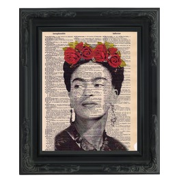 "Frida Kahlo Printed On Upcycled Vintage Dictionary Paper 8""X11"""