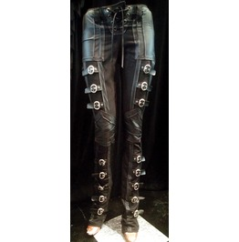 Women's Rocker Buckle Black Lace Up Pants Edgy Stagewear