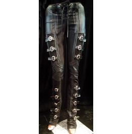 Women's Rocker Buckle Black Lace Up Pants Edgy Stagewear