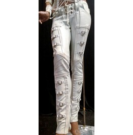 Men's White Pleather Buckle Straps Rocker Punk Pants