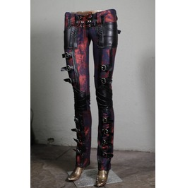 Women's Rocker Buckle Red Metallic Lace Up Pants