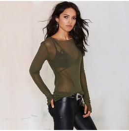Sexy Sheer Ruffle Long Sleeved Women's Tops