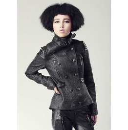 Gothic Silver Button Up High Collar Double Breasted Blazer/Jacket/Coat