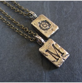 Two Sided Customizable Bronze Initial Pendant