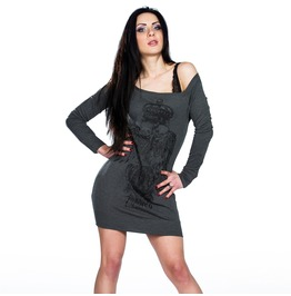Toxico Clothing Grey Death Angel Tattoo Jumper Dress