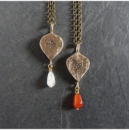 Medieval Bronze And Gemstone Pendant Necklace