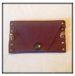 Handmade Leather Card Holder Brown Skulls & Studs