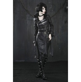Women's Gothic/Steampunk Black/Red Zip Up Buckles Military Long Coat/Jacket
