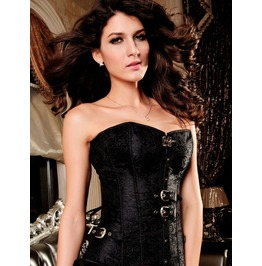 Black/White Gothic Steampunk Jacquard Overbust Corset With Buckles