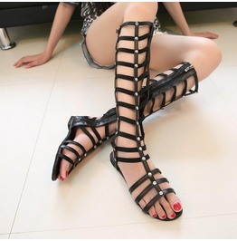 Women Sandals 2015 Cutouts Zipper Knee High Gladiator Sandals Open Toe