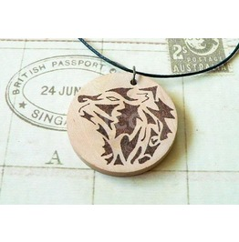 Hand Burned Wooden Pyrography Pendant Tribal Wolf Design