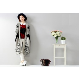 New Fashion Fall Winter Rabbit Hair Blend Knitted Cardigans Girl Printed