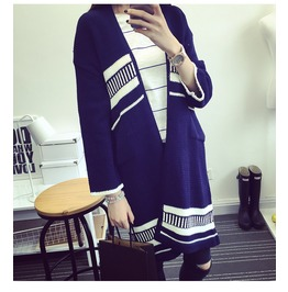 Cardigan Women Casual Ethnic Striped Pattern Crochet Knitted Blouse