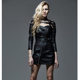 Gothic Sleeveless Zip Up Black Leather Looking Dress
