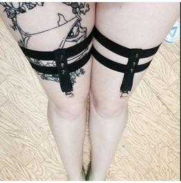 Black Gothic Garter Belt Harness