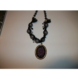 Black Purple Rose Necklace