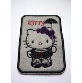 Embroidered Goth Kitty Iron On/ Sew On Patch Badge Gothic Kitty