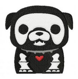 Embroidered Skeleton Dog Patch Badge Iron / Sew On Dog Skull Dog 2 Sizes