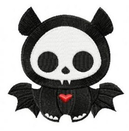 Embroidered Skelaton Bat Patch Badge Iron / Sew On Bat Skull Bat Skelaton