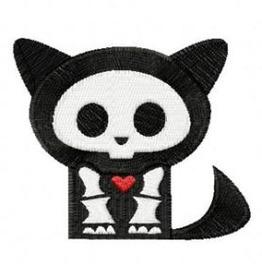Embroidered Skelaton Cat Patch Badge Iron / Sew On Cat Skull Cat Skelaton