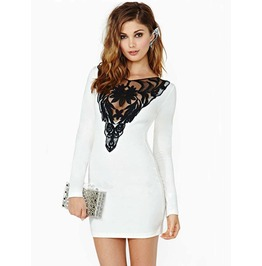 Women White Lace Crew Neck Hedging Package Hip Slim Long Sleeve Dress