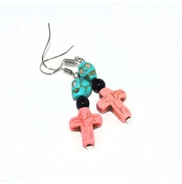 Handmade Howlite Cross Skull Rockabilly Earrings