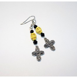 Handmade Rockabilly Yellow Howlite Skull Embossed Cross Earrings