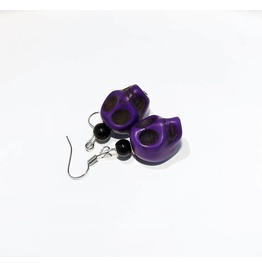 Handmade Purple Howlite Skull Earrings
