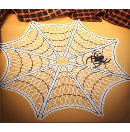 Set Of Four Handmade Lace Spiderweb Doilys/Coasters For A Halloween Party