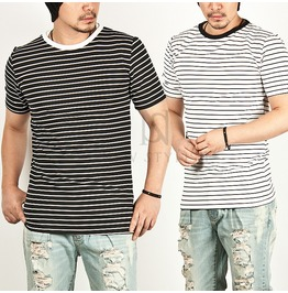 Basic Striped Slim Round Tee 342