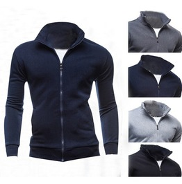 Men's Black/Grey/Light Grey/Blue Zip Up Fleece Jacket