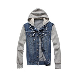 Men's Grey/Blue Denim Button Up Hoodie