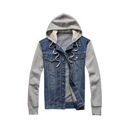 Men's Grey/Blue Denim Button Up Hoodie