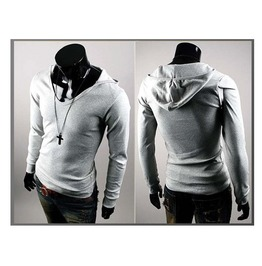 Men's Black/Grey/White Slim Fit Hoodie